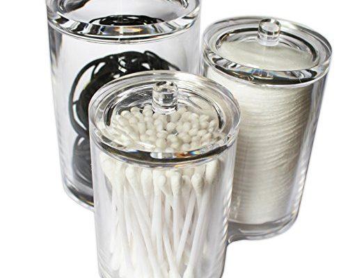 acryl klar kunststoff kosmetische beh lter organizer gl ser mit deckel von kovira 1 set von 3. Black Bedroom Furniture Sets. Home Design Ideas