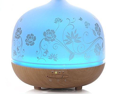 iselector 500ml glas aroma diffuser l diffusor ultraschall vernebler mit 7 led farbwechsel und. Black Bedroom Furniture Sets. Home Design Ideas