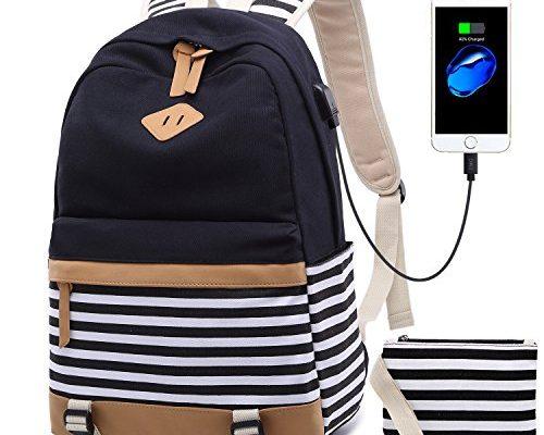 b13888848bb6e Netchain Schulrucksack Mädchen Schultasche Canvas Rucksack Schulranzen  Backpack Streifen Rucksack mit 15.6 zoll