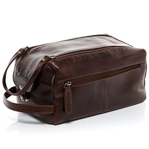 1d3ccb8d6be1a SID   VAIN Kulturtasche Leder Bristol XL groß Kulturbeutel Unisex  Necessaire echter Lederbeutel Damen Herren braun. Echtes ...